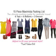 """""""15 Piece Maximista Packing List"""" by travelfashiongirl on Polyvore"""