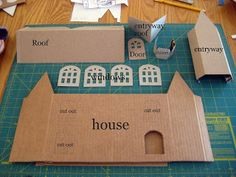 Tutorial for making larger glitter houses. Yes, glitter houses. Christmas Villages, Christmas Home, Christmas Holidays, Christmas Glitter, Christmas Ornaments, Christmas Decorations, Cardboard Crafts, Paper Crafts, Diy Crafts