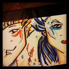 Abstract Art of Love. Boy and Woman. Markers