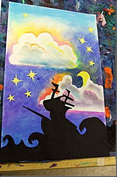 Stencil silhouettes and chalk pastel Archimbaldo- symphony, flying dutchman