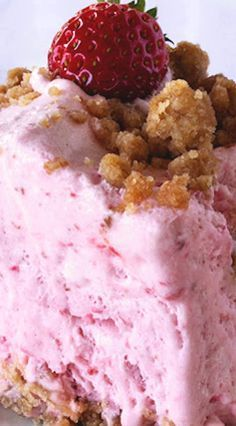 Pink Fluff Dessert ~ You can substitute any frozen fruit for the strawberries- peaches, raspberries, blueberries, blackberries all work well, as does any combination of fruits.