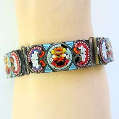 Image detail for -Vintage Micro Mosaic Bracelet Colorful Glass by nanascottagehouse