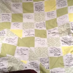 Quilting squares at the wedding to be signed by guests. Turned into a quilt after! #wedding #guestbook