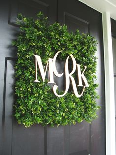 JULY SALE Square Monogram Boxwood Wreath, Boxwood Monogram Wreath, Outdoor Spring Wreath, Housewarming Gift, Wedding Wreath 20 Inch show Front Door Decor, Wreaths For Front Door, Front Doors, Front Porch, Wedding Wreaths, Wedding Decorations, Diy Décoration, Diy Crafts, Diy Spring