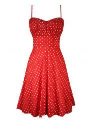 """Women's """"Polka Dot"""" Swing Dress by Double Trouble Apparel (Red)"""