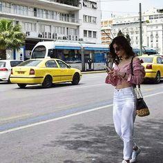 Street style, Athens, white denim, white jeans, stiped shirt, sneakers instagram: @marthakoub