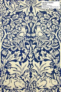 "Historical reproduction of ""Brother Rabbit"" wallpaper in navy blue by William Morris."