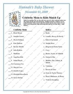 baby shower game. This was a great hit with the younger guests. This one is outdated but I used it as a template to make a new one.
