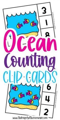 Ocean Counting Clip Cards are a wonderful way to practice counting skills and number recognition with your little kids. Don't forget to grab yours today! #preschool #math #ocean #oceanfish #centers #counting #numbers Sensory Activities Toddlers, Kids Learning Activities, Preschool Themes, Preschool Printables, Preschool Worksheets, Fun Learning, Preschool Activities, Printable Worksheets, Free Printable