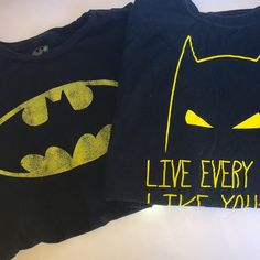"""⚡️Batman Tees Bundle⚡️ Official Batman tees! This bundle includes a classic distressed bat logo tee in Mens size 1X (Measurements: Length: 28"""", Width: 44"""". + """"Live Every Day Like You're Batman"""" tee in Mens size 2X (Measurements: Length: 29"""", Width: 50"""". Gently worn in great condition. There's a few small holes on the bottom of 2X tee, not very noticeable. No Trades or Paypal. Bundles Encouraged! Batman Tops Tees - Short Sleeve"""