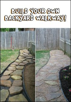 Build your own backyard flagstone pathway Foot traffic wear patterns are the most common backyard problem. Making a flagstone pathway is the easy and inexpensive solution. Backyard Walkway, Backyard Garden Landscape, Garden Paths, Backyard Landscaping, Garden Stones, Natural Landscaping, Backyard Playhouse, Diy Garden, Wooden Garden