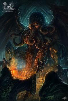 "pixelated-nightmares: "" Cthulhu by mlappas "" Hp Lovecraft, Lovecraft Cthulhu, Cthulhu Art, Call Of Cthulhu Rpg, Dark Fantasy, Fantasy Art, Lovecraftian Horror, Eldritch Horror, Sea Monsters"