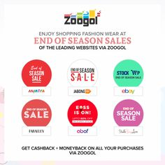 End of Season Sales are here ! Grab this opportunity and shop for the trendiest fashion wear at your favorite website via Zoogol. Zoogol will give you an opportunity to get Cashback + Moneyback on all your purchases. Thus making your shopping even more rewarding. Visit Zoogol now ! https://www.zoogol.in/index.php