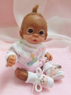 OOAK Baby Orangutan Monkey Girl Sculpted Polymer Clay Art Doll Poseable  #Dolls