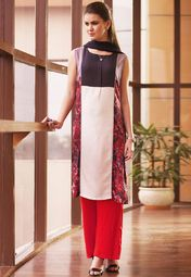 W Navy Blue Printed Kurta Online Shopping Store