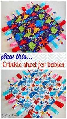 Baby Gifts - How to make this ribbon toy for babies and toddlers that makes a crinkly noise that they love. #crafts #idea