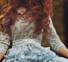 jane. redhead. woman. blue. dress.