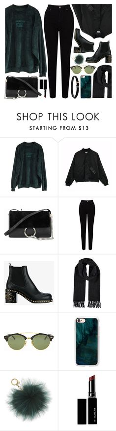 """Untitled #4639"" by monmondefou ❤ liked on Polyvore featuring Chloé, EAST, Miu Miu, Ray-Ban, Casetify, MICHAEL Michael Kors, Witchery and black"