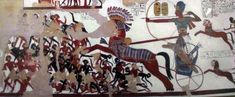 Ramses II charging Nubians - Nubia - Wikipedia, the free encyclopedia Ancient Egyptian Paintings, Ancient Egyptian Cities, Egyptian Art, Ancient Art, Ancient History, Luxor, Battle Of Kadesh, Valley Of The Kings, Minoan