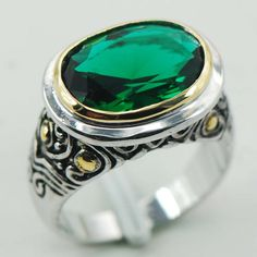 Ianzana Sterling Silver Plated Rings Emerald simulated