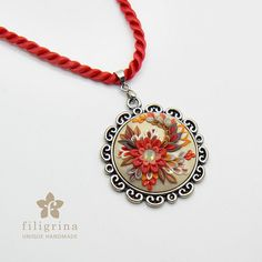Handmade pendant FIRE FLOWER with floral motif in por Filigrina