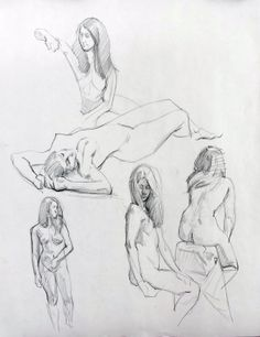 """20120609-STUDIES OF ADRIANA  Drawing, Charcoal on Paper, 24.0""""h x 18.0""""w"""