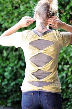 ...love Maegan ~ Fashion, DIY, Home, Lifestyle: Easy T-Shirt DIY: Cut Out Back ~ blog;  what to do after my cotton t's stretch out too much!