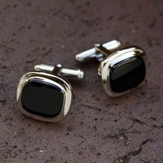 Sterling Silver Cuff Links with Cushion-Shaped Black Onyx Cabochon from J. Schrecker Jewelry. Visit us at our website or at www.facebook.com/jschreckerjewelry