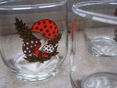 Merry Mushrooms Glasses Sears Roebuck Set of 3 by StrawberrieSoup