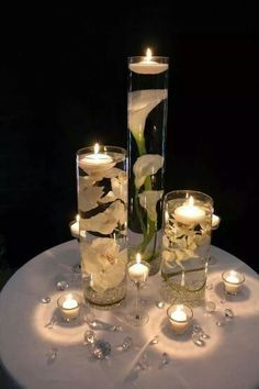 Image result for flower candlelight centerpiece