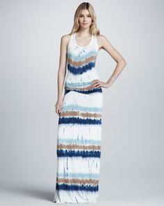 Hamptons Drizzle Sleeveless Maxi Dress, Dark Teal by Young Fabulous and Broke at Neiman Marcus.