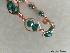 Handmade bracelet with copper wire and green crystals Handmade Copper, Crystal Bracelets, Copper Wire, Handmade Bracelets, Belly Button Rings, Crystals, Green, Jewelry, Roses