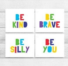 Printable Art: Be Kind, Be Brave, Be Silly, Be You, Set of 4, Kids Printable Wall Art, Playroom Decor, Classroom Posters *INSTANT DOWNLOAD* Playroom Rules, Playroom Art, Kids Room Wall Art, Nursery Wall Art, Printable Classroom Posters, Printable Wall Art, Art Classroom, Printing Websites, Kids Prints
