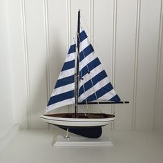 Blue Wooden Model Sailboat  model ship  model by ParadiseDecor