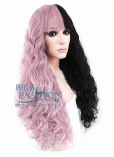 """22"""" Long Curly Purplish Pink Mixed Black Lace Front Synthetic Hair Wig LF1549 - Wig Is Fashion"""
