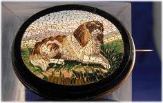 19 Century Large King Charles Spaniel Micro Mosaic Micromosaic Brooch