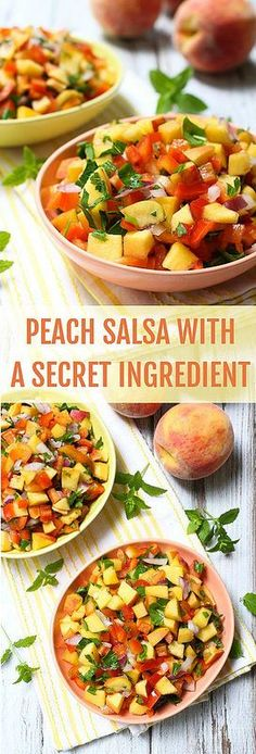 Peach Salsa Recipe Without Tomatoes Healthy Snacks, Healthy Eating, Healthy Recipes, Restaurant Style Salsa, Good Food, Yummy Food, Fruit Salsa, Appetizer Recipes, Sauces