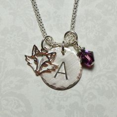 Fox Hand Stamped Sterling Silver Initial Charm Necklace by #DolphinMoonCreations #foxnecklace