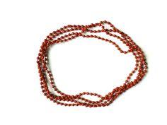 RHK 1020 - Modische Halskette 155 cm geschlossen ohne Verschlussteil rotbraune Kunststoffperlen keine Handarbeit,Original-Schmuck 60-ziger Jahre.