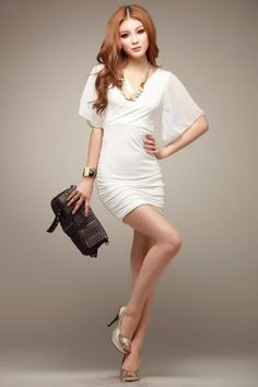 New Style Fashion Chiffon Sleeve Dress (white)