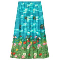 Gucci Garden Print Silk Skirt ($1,900) ❤ liked on Polyvore featuring skirts, silk skirt, pleated skirt, gucci, gucci skirt and floral knee length skirt