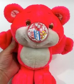 Any one else remember these things?? Neon Pink // NOSY BEAR 1980s Plush Toy // Very Clean by nanometer, $10.00