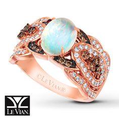 Le Vian Opal Ring 5/8 ct tw Diamonds 14K Strawberry Gold