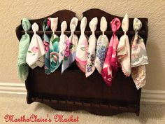 Use on or more of MARTHACLAIRE'S MARKET'S vintage spoon racks for guests to take vintage hankies to dry their happy tears.......<3 RENT TODAY!