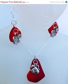 This set was created by me using lovely red cultured sea glass. This set is for the tea lovers. Those of us who love a good cup of tea, know its