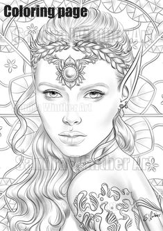 Scary Coloring Pages, Detailed Coloring Pages, Fairy Coloring, Coloring Pages To Print, Coloring Book Pages, Printable Coloring Pages, Elf Tattoo, Elf Drawings, Elf Face