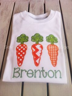Custom Loopy Top Carrot Trio Easter Shirt - Girls, Boys, Toddler T-Shirt -  Personalized Shirt - Applique Embroidery on Etsy, $25.00