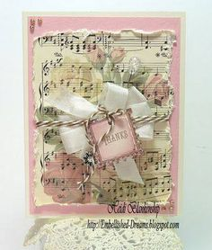 Wonder if stamped music on floral paper
