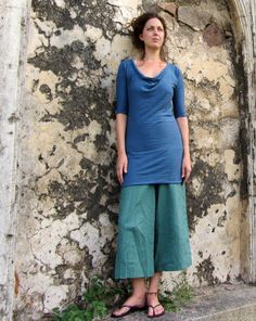 FLOAT NECK TUNIC DRESS. Great layered look. Love the pants (think they are Pedal Pusher Simplicity Pant in hemp/organic cotton knit).