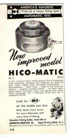 1956 Vintage Ad HI Horrocks-Ibbotson Hico-Matic Automatic Fly Fishing Reel